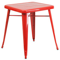 Flash Furniture | 23.75'' Square Red Metal Indoor-Outdoor Table