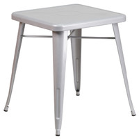 Flash Furniture | 23.75'' Square Silver Metal Indoor-Outdoor Table