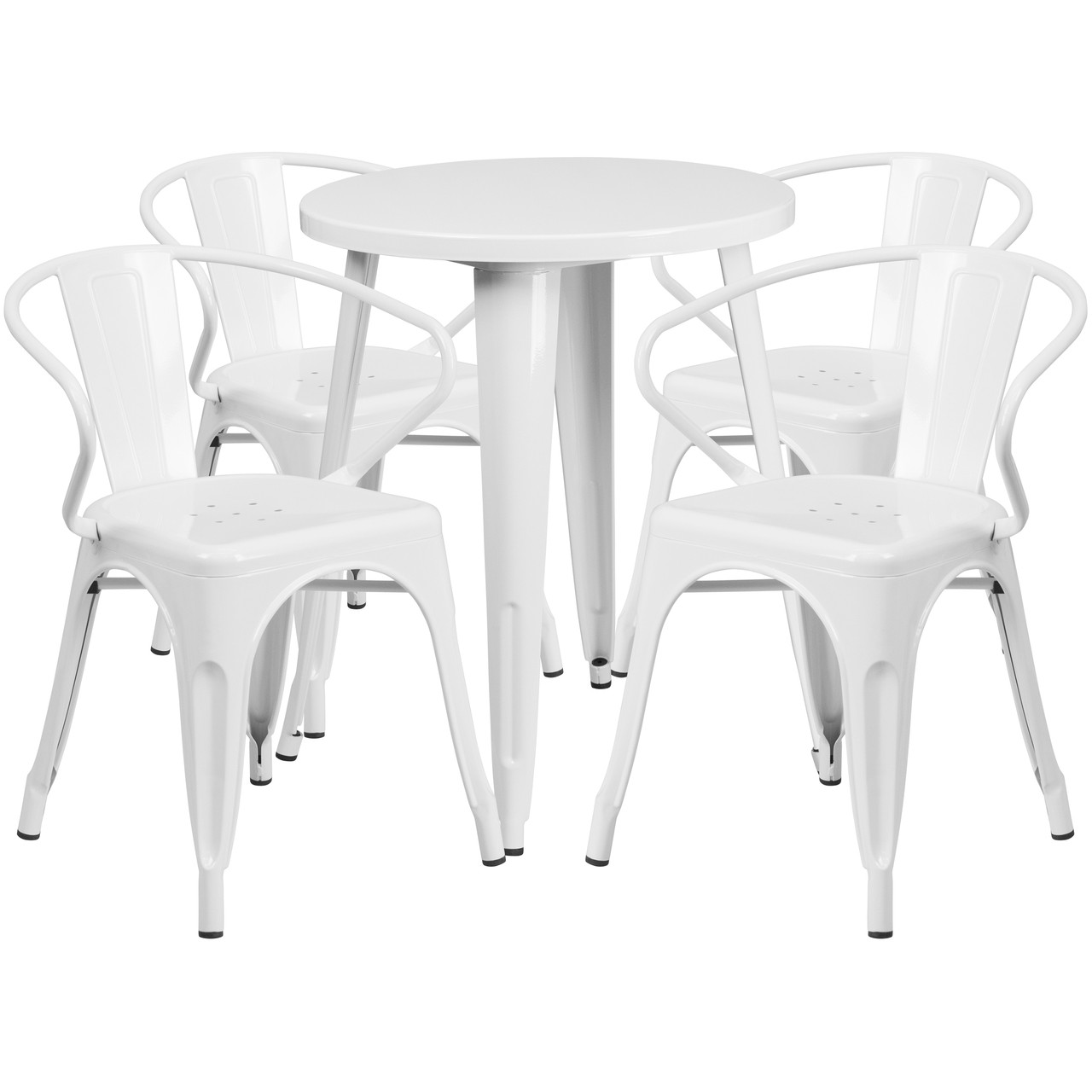 Flash Furniture 24 Round White Metal Indoor Outdoor Table Set