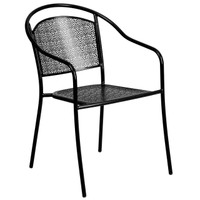 Flash Furniture | Black Indoor-Outdoor Steel Patio Arm Chair with Round Back