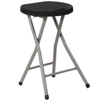 Flash Furniture | Foldable Stool with Black Plastic Seat and Titanium Frame