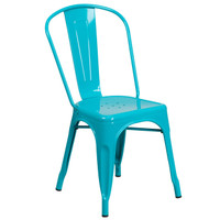 Flash Furniture | Crystal Teal-Blue Metal Indoor-Outdoor Stackable Chair