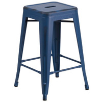 Flash Furniture | 24'' High Backless Distressed Antique Blue Metal Indoor-Outdoor Counter Height Stool