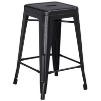 Flash Furniture | 24'' High Backless Distressed Black Metal Indoor-Outdoor Counter Height Stool