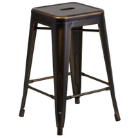 Flash Furniture | 24'' High Backless Distressed Copper Metal Indoor-Outdoor Counter Height Stool
