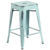 Flash Furniture | 24'' High Backless Distressed Green-Blue Metal Indoor-Outdoor Counter Height Stool