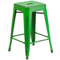 Flash Furniture | 24'' High Backless Distressed Green Metal Indoor-Outdoor Counter Height Stool