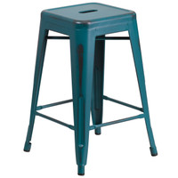 Flash Furniture | 24'' High Backless Distressed Kelly Blue-Teal Metal Indoor-Outdoor Counter Height Stool