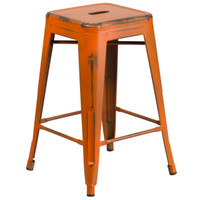 Flash Furniture | 24'' High Backless Distressed Orange Metal Indoor-Outdoor Counter Height Stool