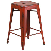 Flash Furniture | 24'' High Backless Distressed Kelly Red Metal Indoor-Outdoor Counter Height Stool