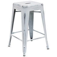 Flash Furniture | 24'' High Backless Distressed White Metal Indoor-Outdoor Counter Height Stool
