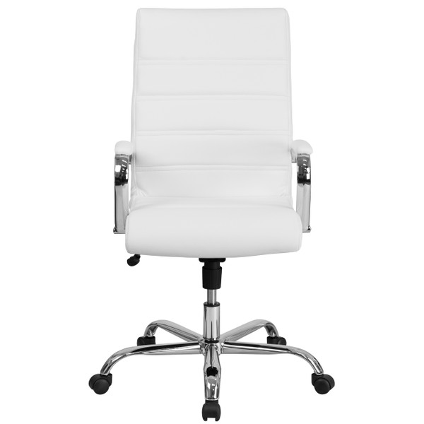 Flash Furniture   High Back White Leather Executive Swivel Office Chair  with Chrome Base and Arms