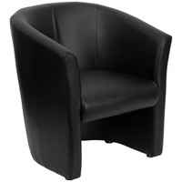 Flash Furniture | Black Leather Barrel-Shaped Guest Chair