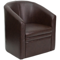 Flash Furniture | Brown Leather Barrel-Shaped Guest Chair