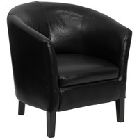 Flash Furniture | Black Leather Barrel Shaped Guest Chair