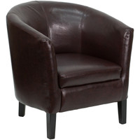 Flash Furniture | Brown Leather Barrel Shaped Guest Chair