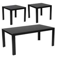 Flash Furniture | Franklin Collection 3 Piece Coffee and End Table Set with Black Glass Tops and Black Metal Legs
