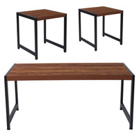 Flash Furniture   Grove Hill Collection 3 Piece Coffee and End Table Set in Rustic Wood Grain Finish and Black Metal Frames