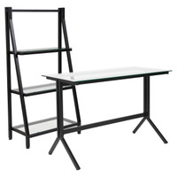 Flash Furniture | Highland Collection Glass Computer Desk and Bookshelf with Black Metal Frame