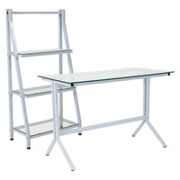 Flash Furniture | Winfield Collection Glass Computer Desk and Bookshelf with White Metal Frame