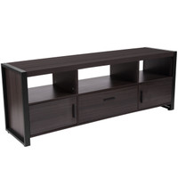 Flash Furniture | Thompson Collection Charcoal Wood Grain Finish TV Stand and Media Console with Black Metal Frame