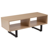 Flash Furniture | Hyde Square Collection Beech Wood Grain Finish TV Stand and Media Console with Black Metal Legs