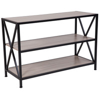 "Flash Furniture | Chelsea Collection 3 Shelf 26""H Cross Brace Bookcase in Sonoma Oak Wood Grain Finish"