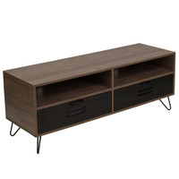 Flash Furniture | Woodridge Collection Rustic Wood Grain Finish TV Stand with Metal Drawers and Black Metal Legs