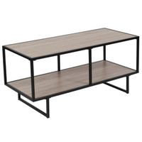 Flash Furniture | Midtown Collection Sonoma Oak Wood Grain Finish TV Stand with Black Metal Frame