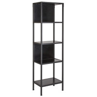 "Flash Furniture | Tiverton Collection Industrial Style 4 Shelf 59""H Bookcase with Open and Panel Backing in Dark Ash"