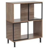 "Flash Furniture | Paterson Collection 2 Shelf 26""W x 31.5""H Bookcase and Storage Cube in Rustic Wood Grain Finish"