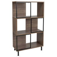 "Flash Furniture | Paterson Collection 3 Shelf 26""W x 45.25""H Bookcase and Storage Cube in Rustic Wood Grain Finish"