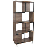 "Flash Furniture | Paterson Collection 4 Shelf 26""W x 58.75""H Bookcase and Storage Cube in Rustic Wood Grain Finish"