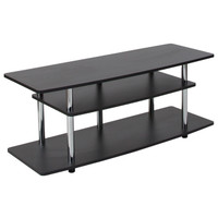 Flash Furniture | Deerfield Black TV Stand with Shelves and Stainless Steel Legs
