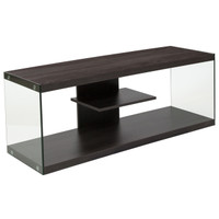 Flash Furniture | Cedar Lane Collection Driftwood Wood Grain Finish TV Stand with Shelves and Glass Frame