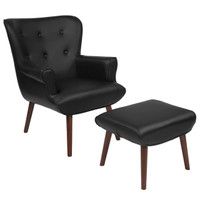 Flash Furniture | Bayton Upholstered Wingback Chair with Ottoman in Black Leather