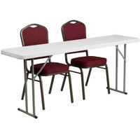 Flash Furniture | 18'' x 72'' Plastic Folding Training Table Set with 2 Crown Back Stack Chairs