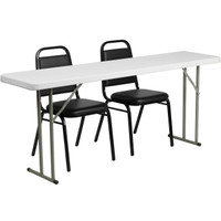 Flash Furniture | 18'' x 72'' Plastic Folding Training Table Set with 2 Trapezoidal Back Stack Chairs