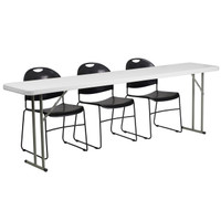 Flash Furniture | 18'' x 96'' Plastic Folding Training Table Set with 3 Black Plastic Stack Chairs