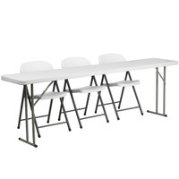 Flash Furniture | 18'' x 96'' Plastic Folding Training Table Set with 3 White Plastic Folding Chairs