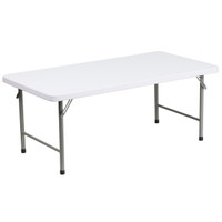 Flash Furniture | 24''W x 48''L x 19''H Kid's Granite White Plastic Folding Table