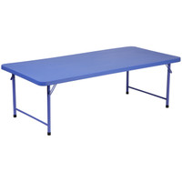 Flash Furniture | 30''W x 60''L x 19''H Kid's Blue Plastic Folding Table