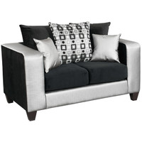 Flash Furniture | Riverstone Implosion Black Velvet Loveseat with Black & Shimmer Steel Frame