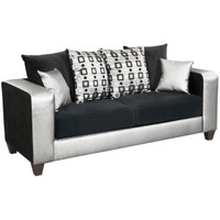 Flash Furniture | Riverstone Implosion Black Velvet Sofa with Black & Shimmer Steel Frame