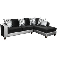 Flash Furniture | Riverstone Implosion Black Velvet Sectional with Black & Shimmer Steel Frame