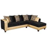 Flash Furniture | Riverstone Implosion Black Velvet Sectional with Black & Shimmer Gold Frame