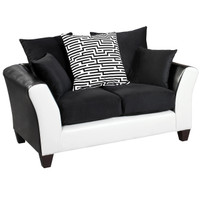 Flash Furniture | Riverstone Implosion Black Velvet Loveseat with Black & White Frame