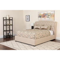 Flash Furniture | Barletta Tufted Upholstered Queen Size Platform Bed in Beige Fabric