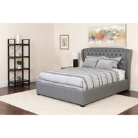 Flash Furniture | Barletta Tufted Upholstered Twin Size Platform Bed in Light Gray Fabric