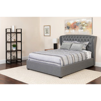 Flash Furniture | Barletta Tufted Upholstered Queen Size Platform Bed in Light Gray Fabric